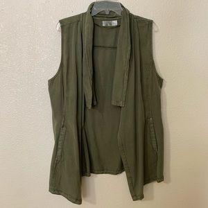 Olive green flyaway vest